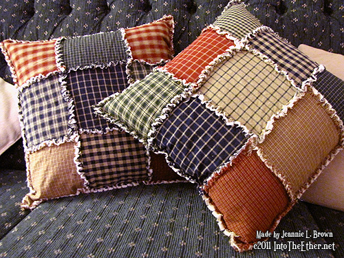 Rag Quilted Pillows from Homespun