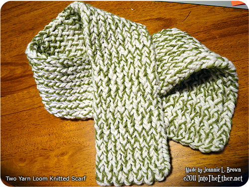 Two Yarn Loom Knitted Scarf Into The Ether