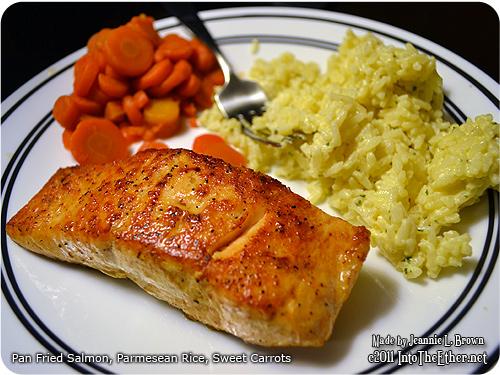 Pan Seared Salmon, Parmesean Rice, Sweet Carrots