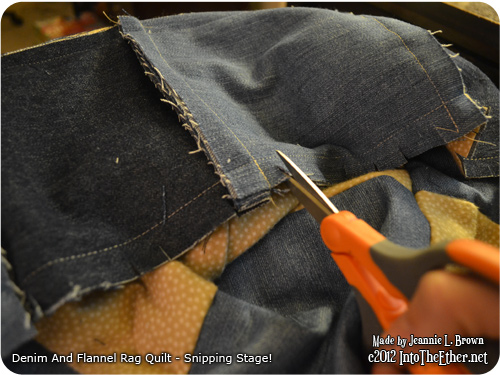 Denim and Flannel Rag Quilt – Snipping Stage!
