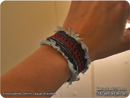 Embroidered Frayed Denim Cuff Bracelet