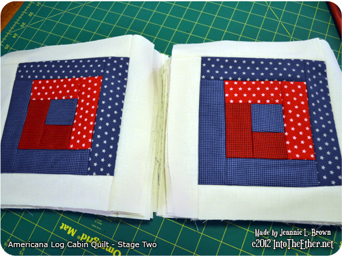 Americana Log Cabin Quilt – Stage Two
