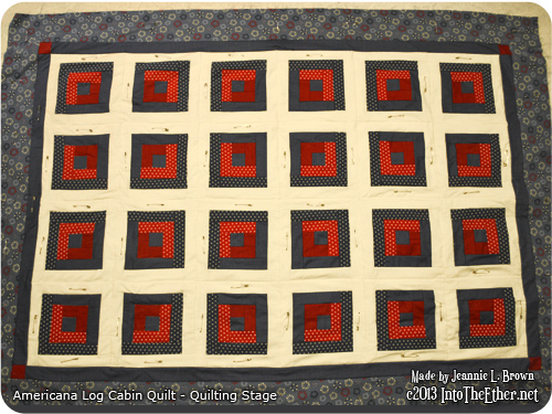 Americana Log Cabin Quilt – Quilting Stage
