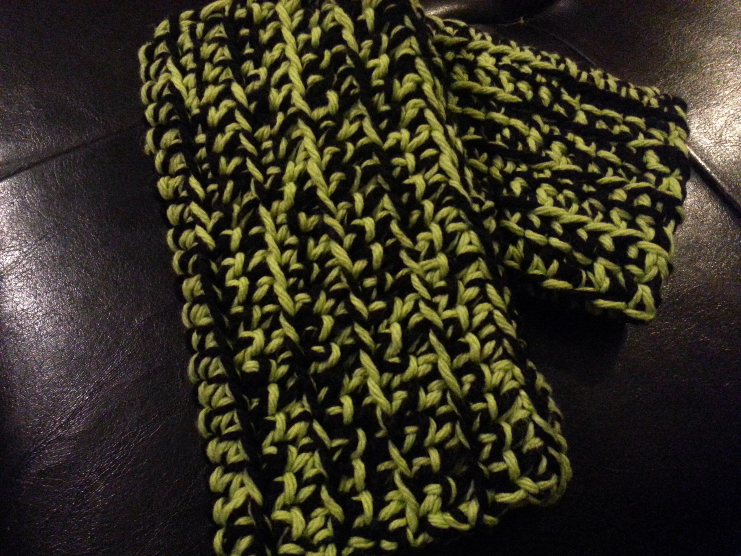 Black and Green Crocheted Fingerless Gloves